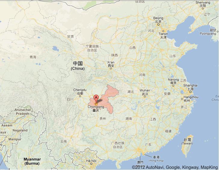 Map of Chongqing